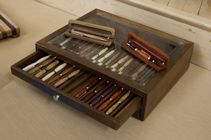 lathe turned pens and wood case by Charlie North